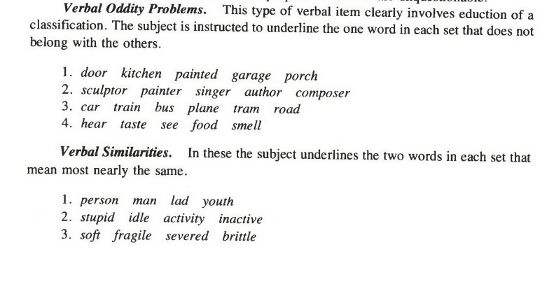 verbal items