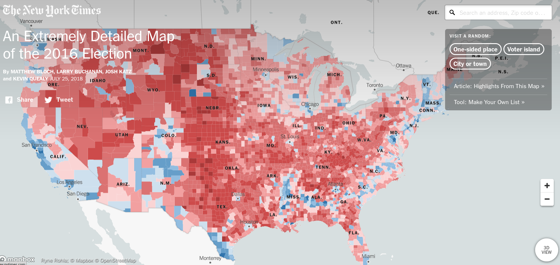 """Data from NYT's """"An Extremely Detailed Map of the 2016 Election"""