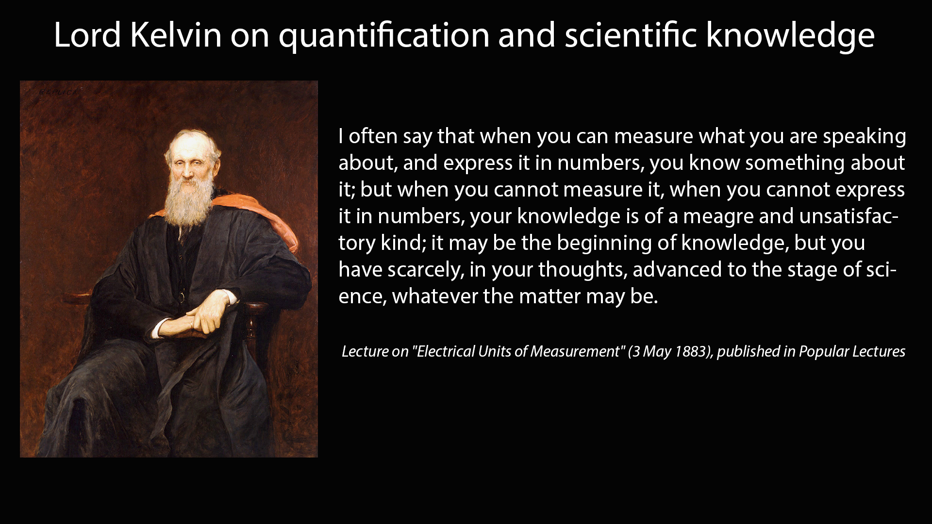 Lord Kelvin On Quantification And Scientific Knowledge