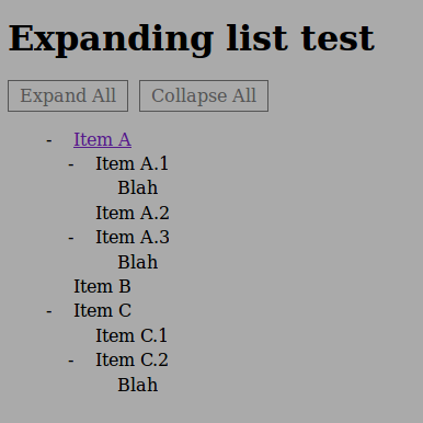 Collapsible list in HTML/CSS/JS