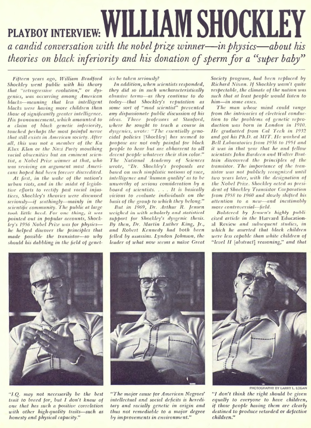 Shockley's 1980 interview with Playboy – Clear Language, Clear Mind